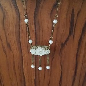 Vintage carved white flower choker